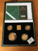 The UK 2001 gold proof four coin sovereign collection from the Royal Mint