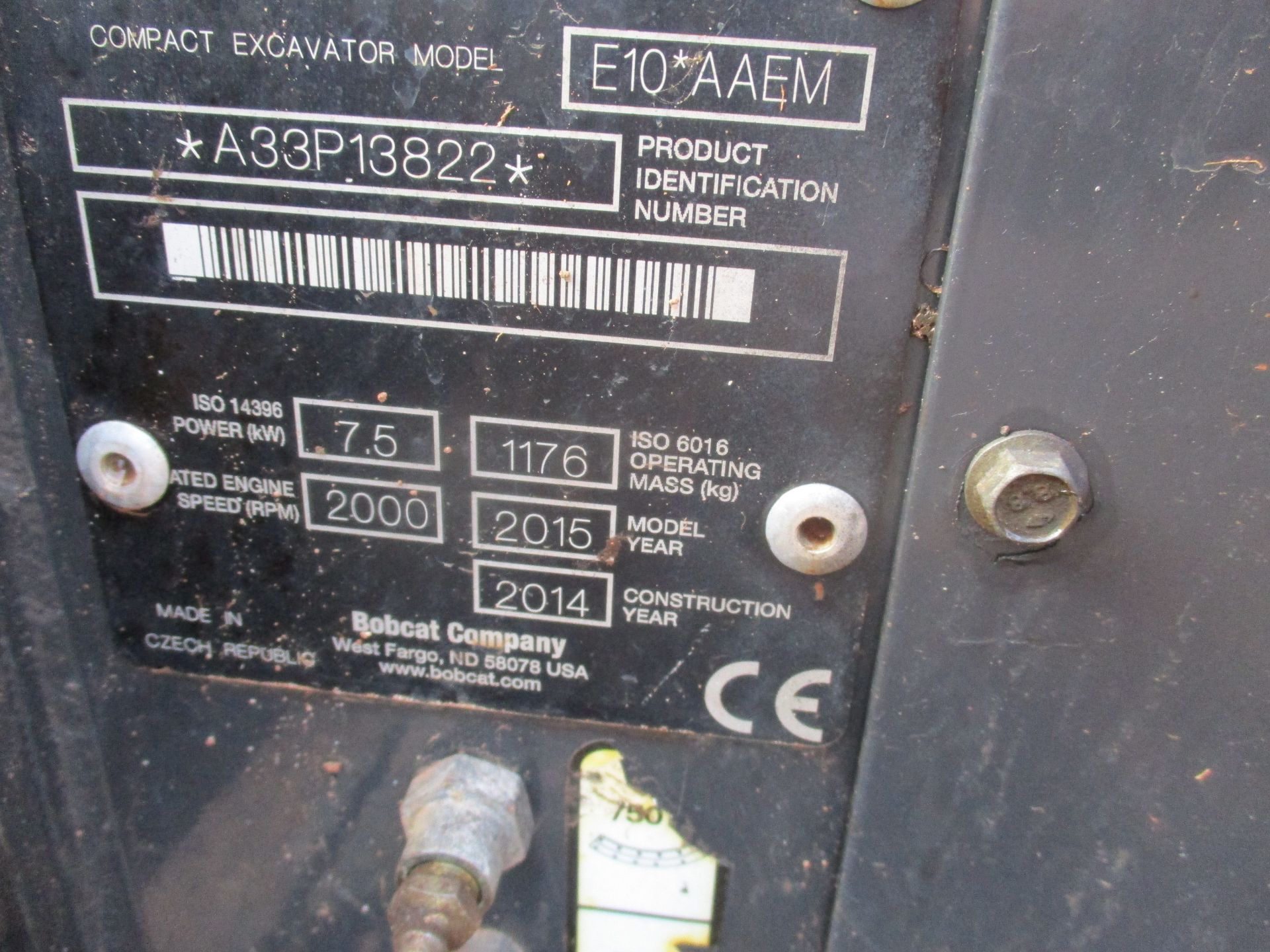 BOBCAT E10 MICRO DIGGER C/W 3 BUCKETS 2015 1300HRS RDD - Image 5 of 7
