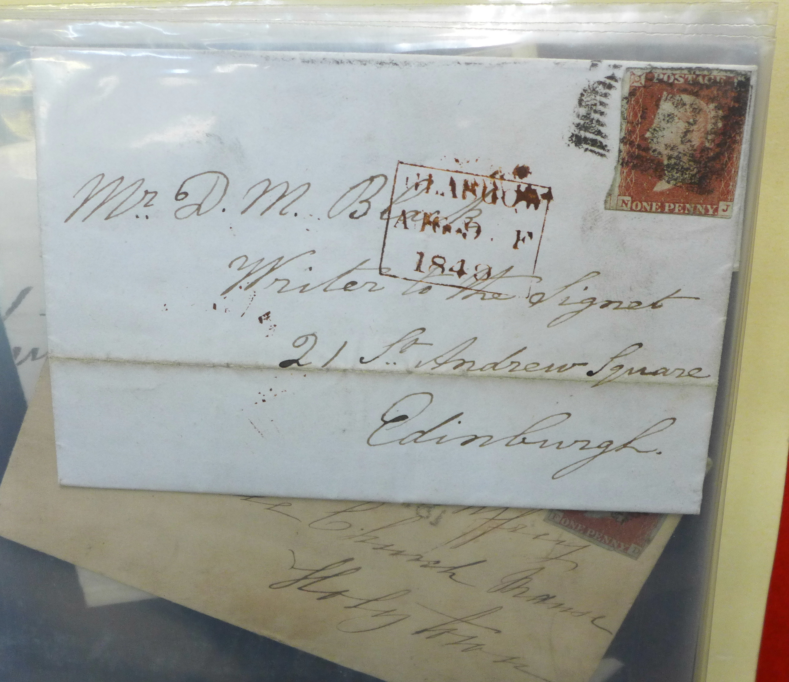 Stamps;- GB postal history in album, pre-stamp (4 no.) 1d imperfects (5 no.), etc. (52) - Image 2 of 8