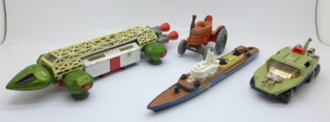 A Matchbox Adventure 2000, a Dinky Toys Eagle, a Dinky Toys Tractor and Matchbox Sea Kings