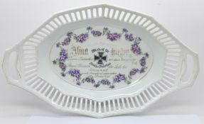 A German WWI commemorative dish, with printed acknowledgement, a/f, 31cm