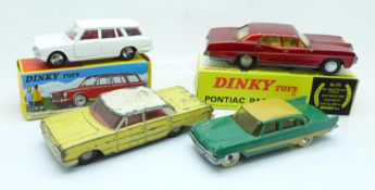 Three Dinky Toys model vehicles, (Pontiac with reproduction box), and an Atlas Dinky Toys Break