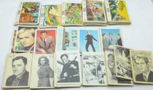 Tarzan Anglo bubble gum cards, full set of 66, 48 A&BC Man from U.N.C.L.E. cards and 23 Girl from