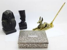Three Egyptian tourist items and a plated box, hinge a/f