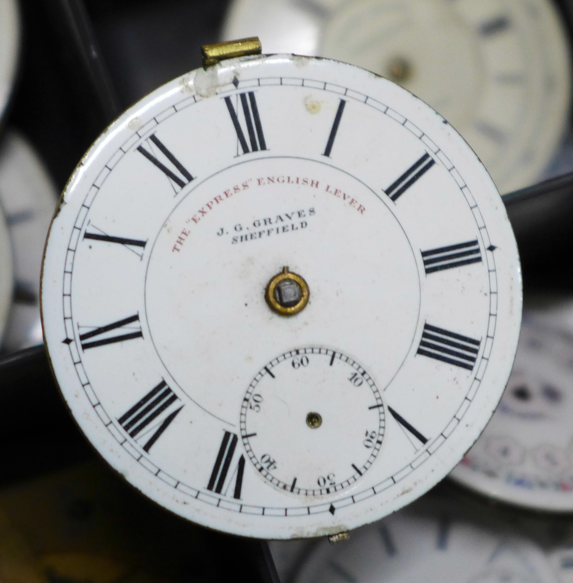 A large collection of pocket watch movements and dials plus an Action Timer stopwatch - Image 6 of 6
