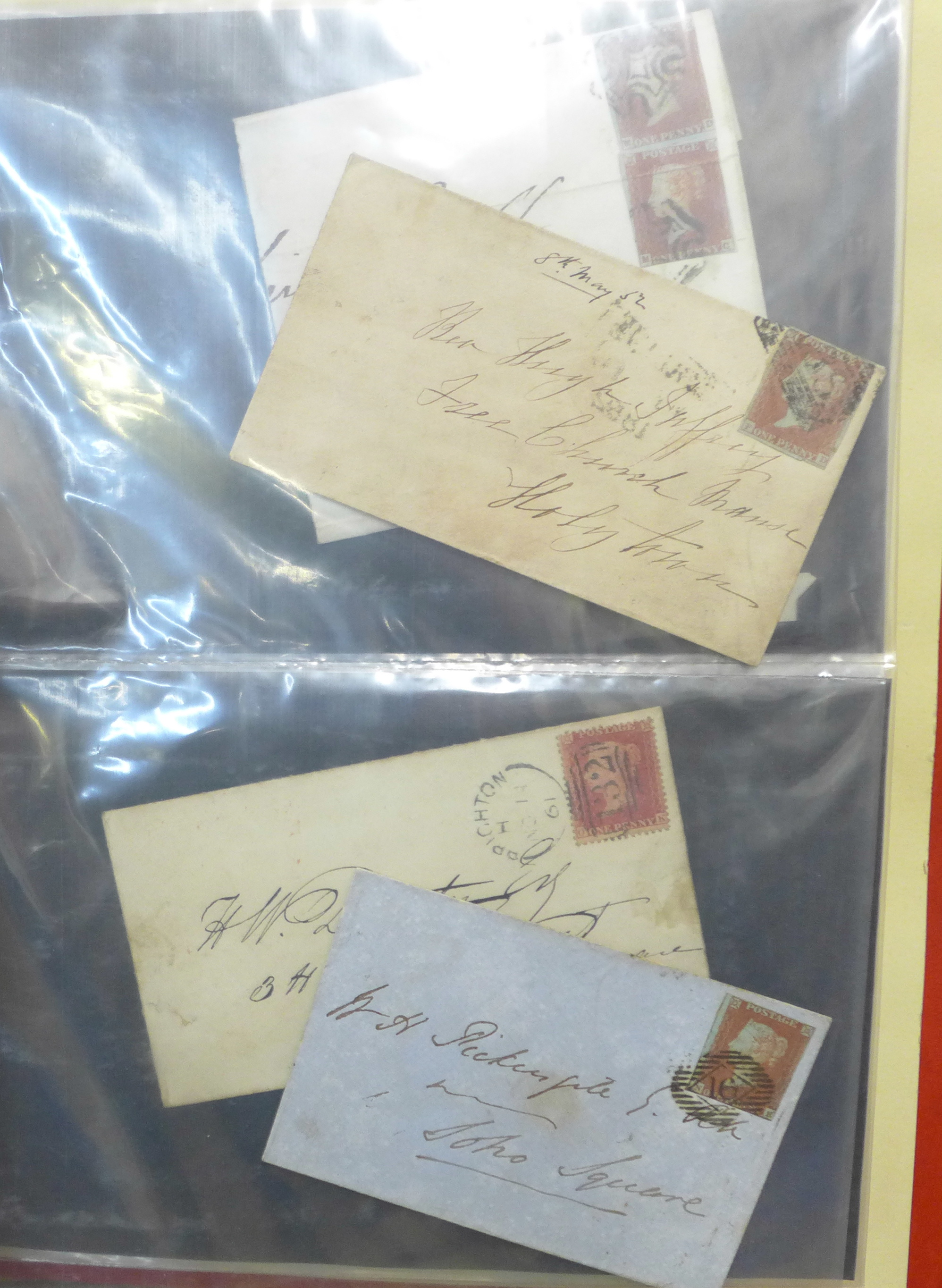 Stamps;- GB postal history in album, pre-stamp (4 no.) 1d imperfects (5 no.), etc. (52) - Image 4 of 8