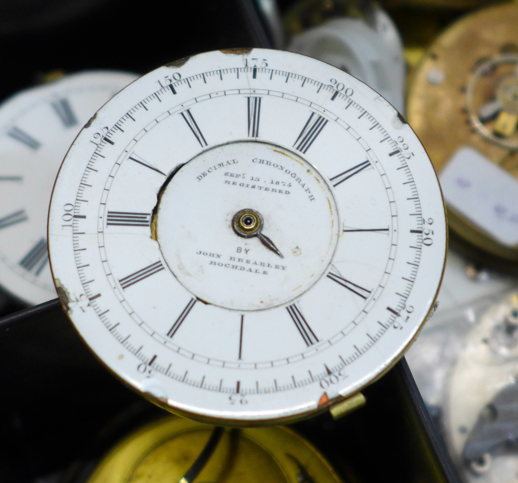 A large collection of pocket watch movements and dials plus an Action Timer stopwatch - Image 5 of 6