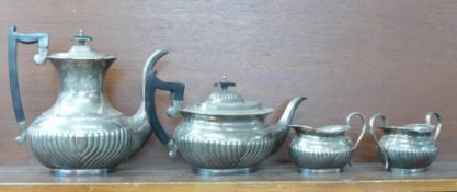 A four piece plated Viners tea service