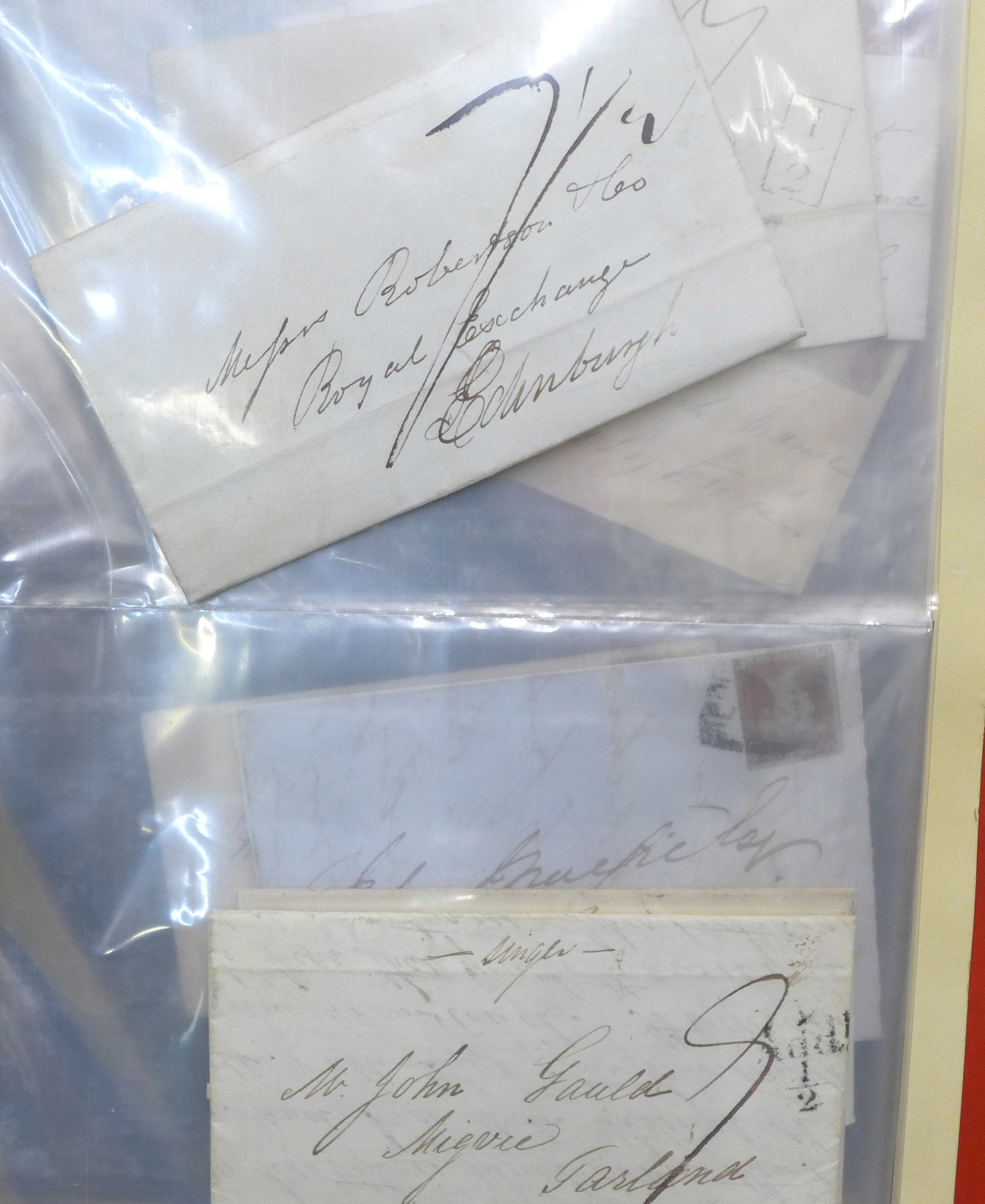 Stamps;- GB postal history in album, pre-stamp (4 no.) 1d imperfects (5 no.), etc. (52)