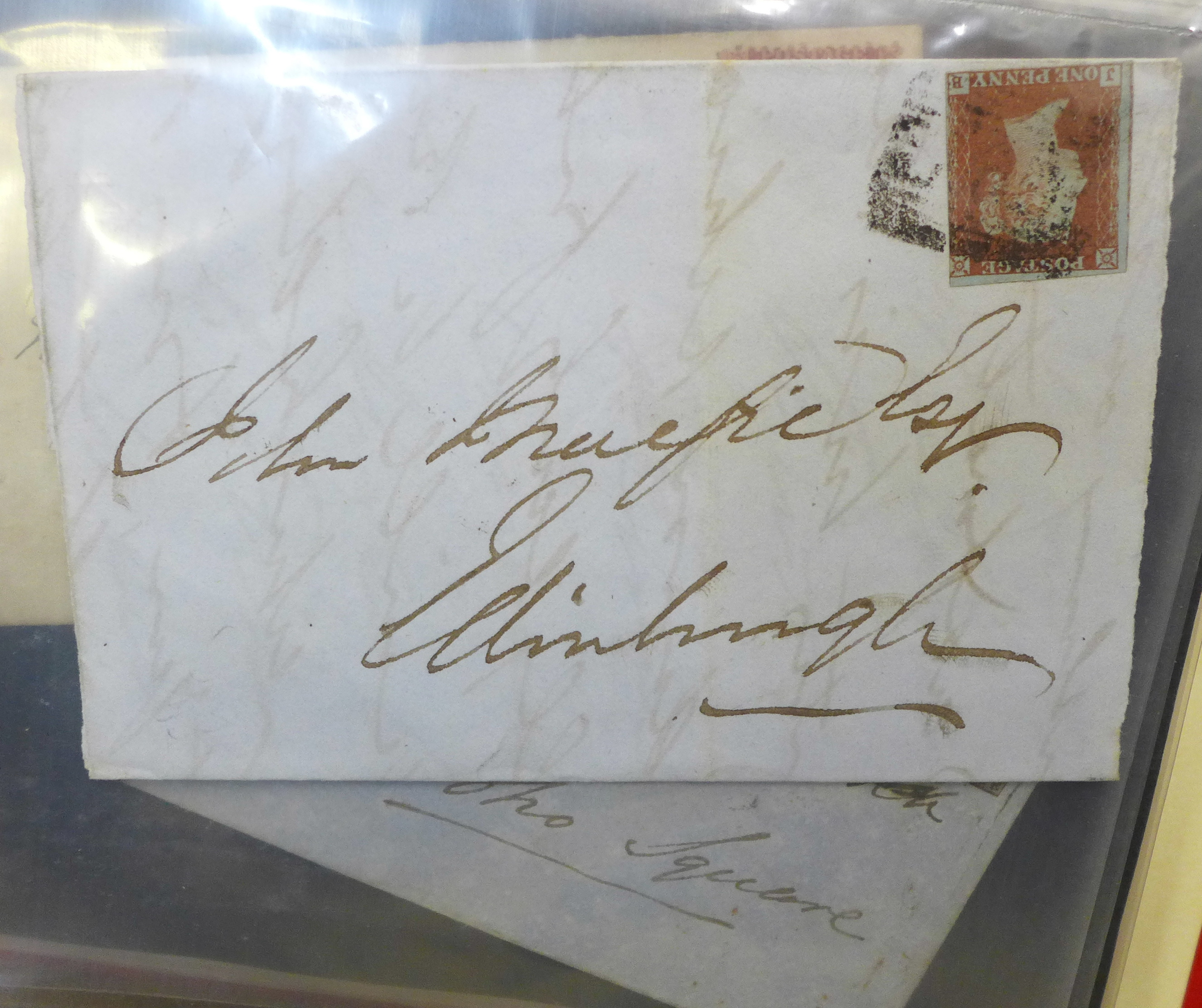 Stamps;- GB postal history in album, pre-stamp (4 no.) 1d imperfects (5 no.), etc. (52) - Image 3 of 8