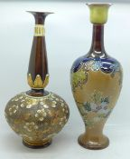Two Doulton Lambeth Slater's Patent vases, 8946 and 8675 impressed marks, tallest 28cm