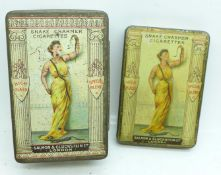 Two Snake Charmer Cigarettes tins, Salmon & Gluckstein, early 1900's