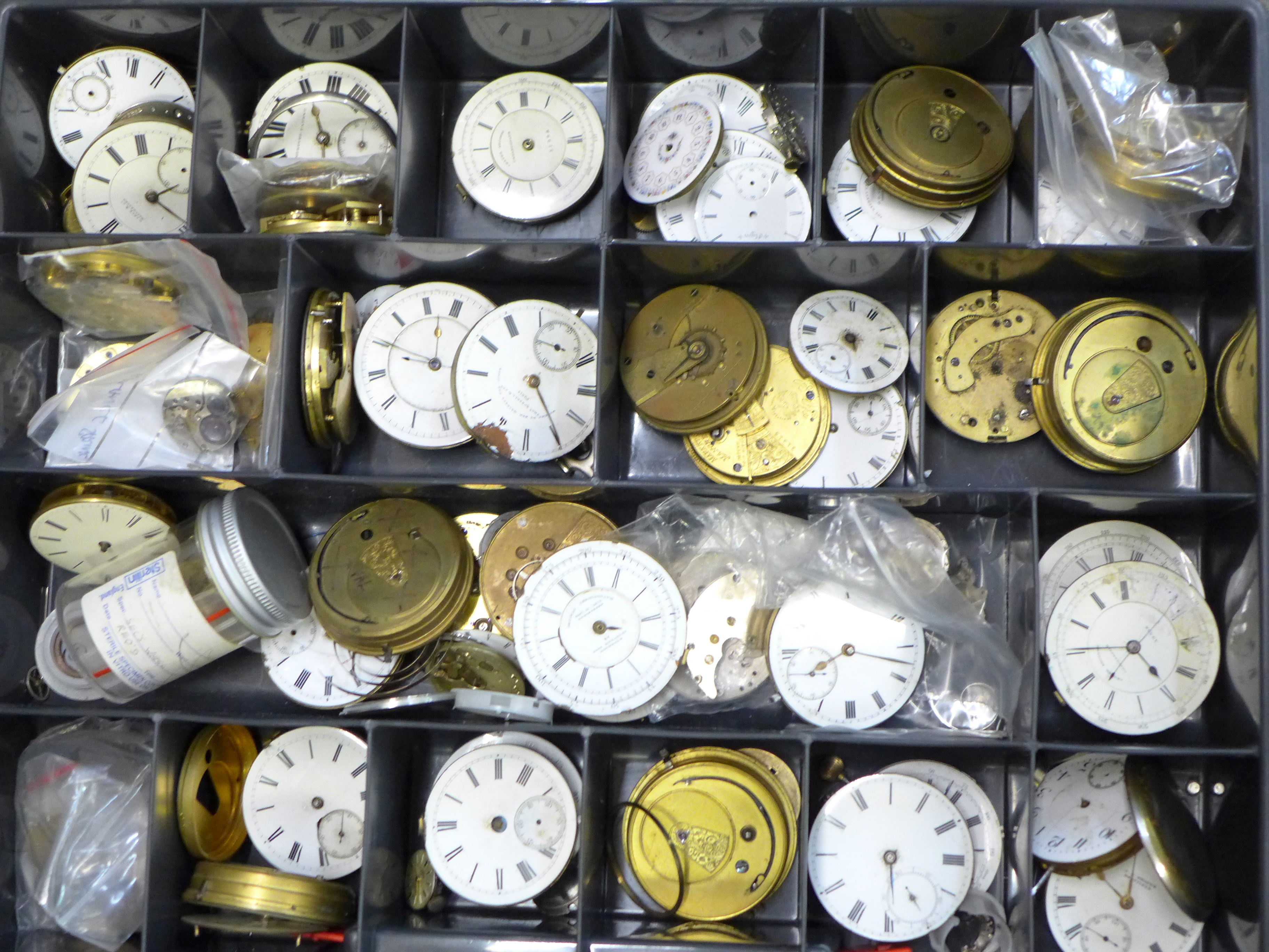 A large collection of pocket watch movements and dials plus an Action Timer stopwatch - Image 2 of 6