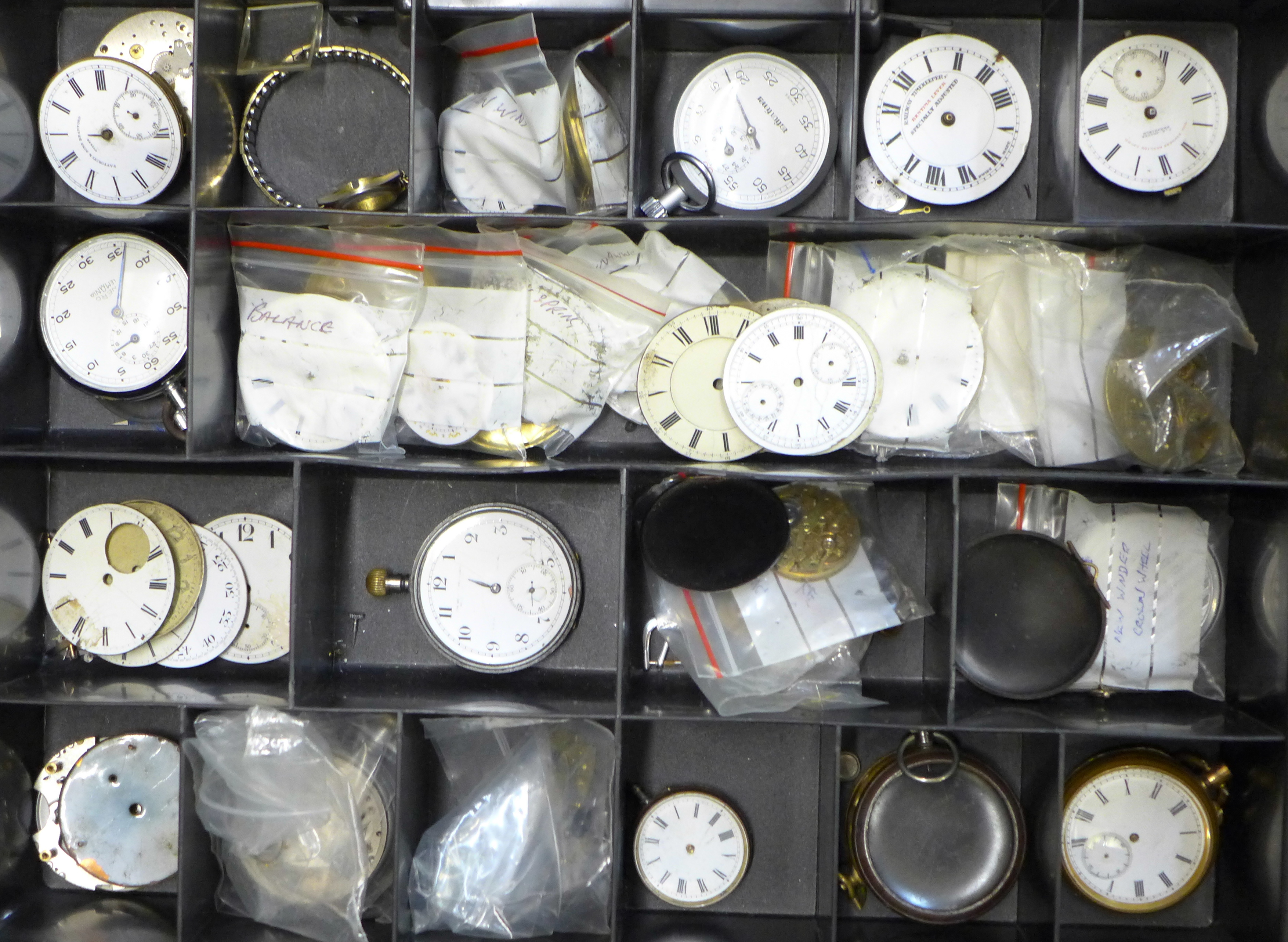 A large collection of pocket watch movements and dials plus an Action Timer stopwatch - Image 3 of 6