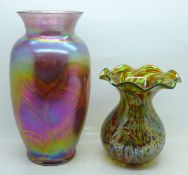 An iridescent glass vase, 22.5cm, and one other glass vase