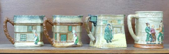 Three Royal Doulton Dickens themed jugs and an Oliver Twist tankard