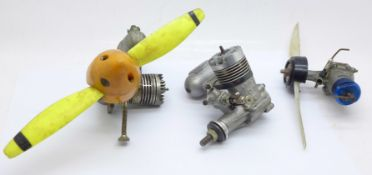 Three model aircraft engines, one DC Ltd. and two marked made in Japan