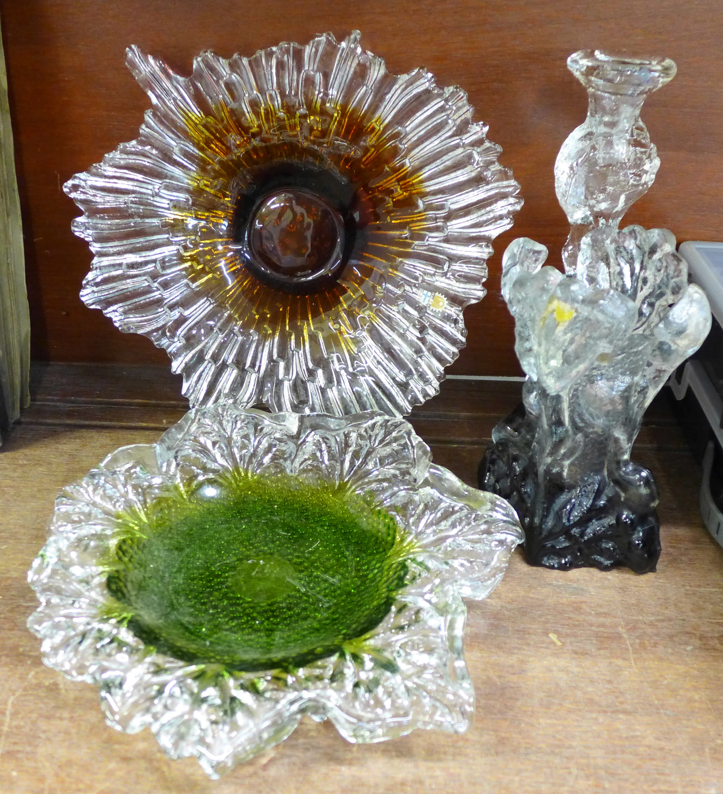 Lot 672 - A collection of Humppila Finland glass; vase, candlestick and two shallow bowls