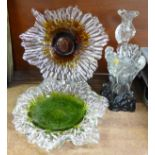 A collection of Humppila Finland glass; vase, candlestick and two shallow bowls