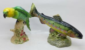 Two Beswick figures, a parrot and a golden trout