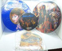 Four picture disc records, Pat Benatar, Queen, Status Quo and Toto