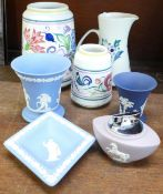 Two Poole vases and a jug and four items of Wedgwood Jasperware