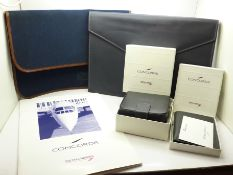 Concorde related items; two folders, stationery and certificate, card case and a jewellery box