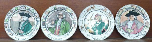 Four large Royal Doulton character plates