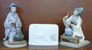 Two Lladro figures, Japonsa Decorando no. 4840 and Ceremonial del Te no. 5122, designer Vincente