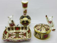 Three items of Abbeydale china and two Royal Crown Derby Teddy bear paperweights