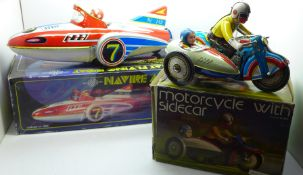 Two Chinese tin-plate toys, clockwork motorcycle and a Great Flying Boat, boxed