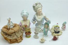 Five pin cushion dolls, largest with backstamp 9400, and five other items, (largest a/f, fingers)