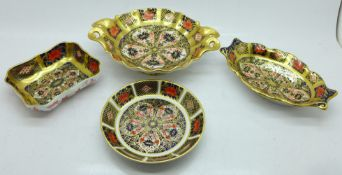 Four items of Royal Crown Derby, three pin dishes and one other larger dish, width 16cm