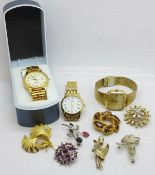 Seven costume brooches and three wristwatches, Rotary, Accurist and Lorus
