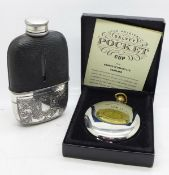 A leather mounted glass hip flask with plated cup marked Hawksley and a later Grants of Dalvey