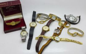 A collection of wristwatches including Roamer, Timex, Casio and Sekonda, an Ingersoll pocket watch