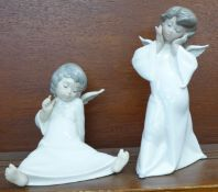 Two Lladro Angel figurines; Mime Angel no. 4959 and Angel Wondering no. 4962