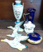 A Minton Rose basket vase, number 2376, a Queen's Kenilworth sugar pot and cover, three items of