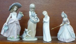 Three Lladro figures, Following Her Cats no. 1309, A Wish Come True no. 7676, Jolie - Girl with