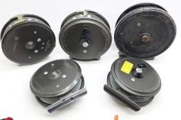 Five fishing reels; four Hardy, The Princess, The Lightweight, The Viscount and The Viscount 140,