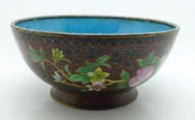 A cloisonne bowl, 20.5cm