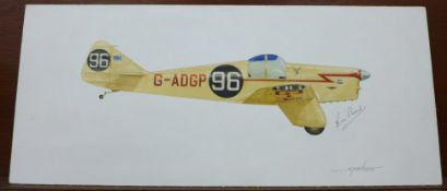 A 1970's/80's oil on board of a 1930's Miles Hawk racing aircraft, signed by the artist, Sparkes,