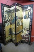A Chinese painted four panel folding screen