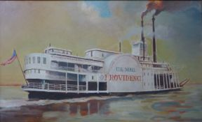 'US Mail Providence', St Louis and New Orleans Anchor Line paddle steamer, oil on board, unsigned,