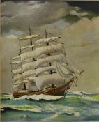A study of a ship in full sail, oil on panel, signed Jarrod 1983, framed, 54 x 44cms