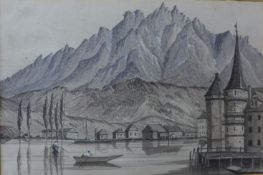 David Frederick Markham, Lucerne, Switzerland, May 1846, en grisaille watercolour,mounted, 20 x