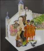 V. Mitchell, pair of historical collages, mixed media, dated 1972, framed, each 34 x 38cms