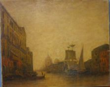19th Century Venetian canal scene, oil on canvas, unsigned and unframed, 40 x 50cms