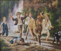 V. Cole, children with a donkey playing, oil on canvas, framed, 50 x 59cms
