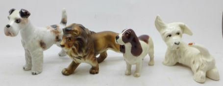 A set of four animal figures including Beswick, one a/f